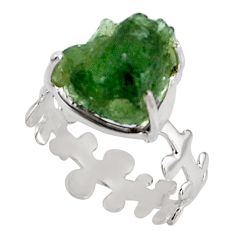 6.39cts natural green moldavite 925 silver 14k gold ring jewelry size 8.5 p92738