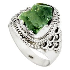 6.02cts natural green moldavite 925 silver solitaire ring size 8.5 p90552