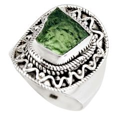 5.30cts natural green moldavite 925 silver solitaire ring size 8.5 p92030