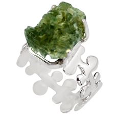 5.95cts natural green moldavite 925 silver solitaire ring size 7 p92122