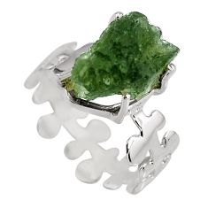 5.43cts natural green moldavite 925 silver solitaire ring size 8.5 p92128