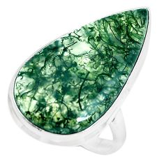 21.18cts natural green moss agate 925 silver solitaire ring size 9.5 d31335