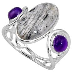 7.66cts natural green moss agate amethyst 925 sterling silver ring size 7 p89895