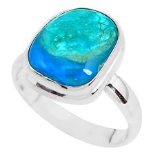 7.33cts natural green opaline 925 silver solitaire ring jewelry size 8 p40158
