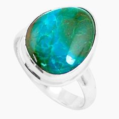 7.12cts natural green opaline 925 sterling silver solitaire ring size 7.5 p46990