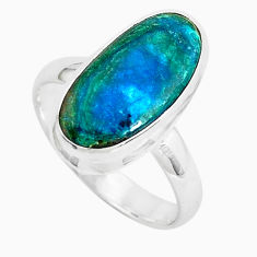 6.10cts natural green opaline 925 sterling silver solitaire ring size 8 p46992