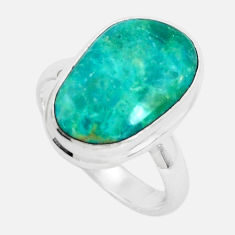 7.11cts natural green opaline 925 sterling silver solitaire ring size 8 p46996