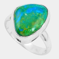 6.58cts natural green opaline 925 sterling silver solitaire ring size 8 p47000