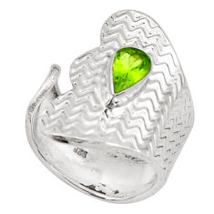 Natural green peridot 925 silver solitaire adjustable ring size 6.5 p49633