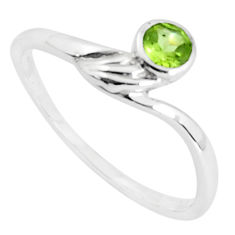 0.61cts natural green peridot 925 silver solitaire ring jewelry size 8.5 p36883