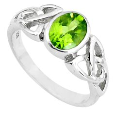 2.21cts natural green peridot 925 silver solitaire ring jewelry size 5.5 p36913