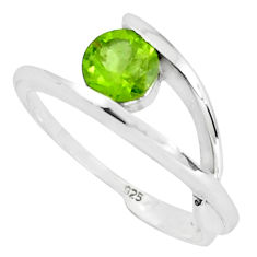 1.56cts natural green peridot 925 silver solitaire ring jewelry size 5.5 p36936
