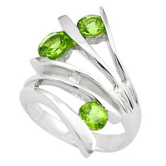 3.01cts natural green peridot 925 silver solitaire ring jewelry size 8.5 p37031