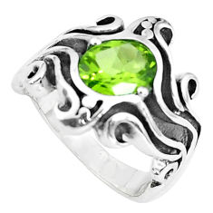 3.30cts natural green peridot 925 silver solitaire ring jewelry size 7.5 p37256