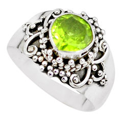 2.78cts natural green peridot 925 silver solitaire ring jewelry size 8 p51122
