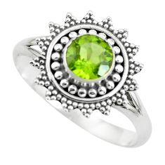 1.39cts natural green peridot 925 silver solitaire ring jewelry size 8 p61870
