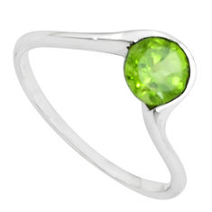 1.21cts natural green peridot 925 silver solitaire ring jewelry size 5.5 p62122