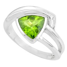 3.42cts natural green peridot 925 silver solitaire ring jewelry size 7.5 p62275