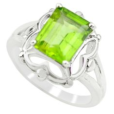 3.19cts natural green peridot 925 silver solitaire ring jewelry size 6.5 p62291