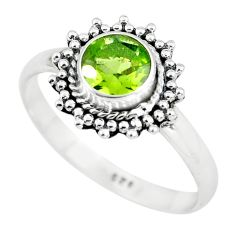 1.06cts natural green peridot 925 silver solitaire ring jewelry size 8 p64113