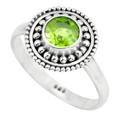 0.98cts natural green peridot 925 silver solitaire ring jewelry size 6.5 p64122