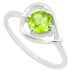 1.48cts natural green peridot 925 silver solitaire ring jewelry size 5.5 p73116