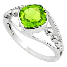 3.22cts natural green peridot 925 silver solitaire ring jewelry size 5.5 p81610