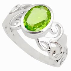 3.01cts natural green peridot 925 silver solitaire ring jewelry size 6.5 p81755