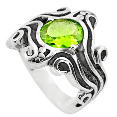 3.21cts natural green peridot 925 silver solitaire ring jewelry size 6.5 p82727