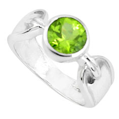 2.46cts natural green peridot 925 silver solitaire ring jewelry size 6.5 p82754