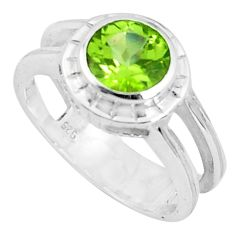 2.41cts natural green peridot 925 silver solitaire ring jewelry size 5.5 p82775