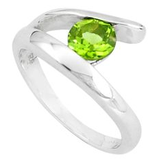 1.00cts natural green peridot 925 silver solitaire ring jewelry size 8.5 p82799