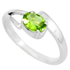1.59cts natural green peridot 925 silver solitaire ring jewelry size 6.5 p83031