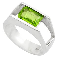 3.14cts natural green peridot 925 silver solitaire ring jewelry size 7.5 p83063