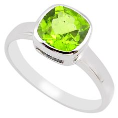 3.11cts natural green peridot 925 silver solitaire ring jewelry size 7.5 p83312