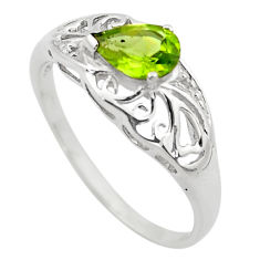 1.58cts natural green peridot 925 silver solitaire ring jewelry size 7.5 p83489