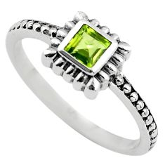 0.42cts natural green peridot 925 silver solitaire ring jewelry size 8.5 p83607