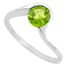 1.32cts natural green peridot 925 silver solitaire ring jewelry size 5.5 p83666
