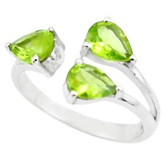 3.91cts natural green peridot 925 sterling silver adjustable ring size 8 p73386