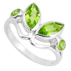 4.34cts natural green peridot 925 sterling silver ring jewelry size 8 p37266
