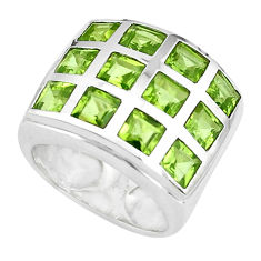 6.31cts natural green peridot 925 sterling silver ring jewelry size 5.5 p37419
