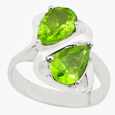 5.41cts natural green peridot 925 sterling silver ring jewelry size 10 p62090
