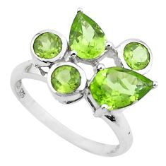 5.54cts natural green peridot 925 sterling silver ring jewelry size 6.5 p62169