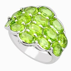 14.41cts natural green peridot 925 sterling silver ring jewelry size 7.5 p62235