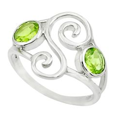 2.09cts natural green peridot 925 sterling silver ring jewelry size 7.5 p62597
