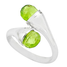 3.62cts natural green peridot 925 sterling silver ring jewelry size 4.5 p62599