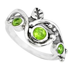 1.39cts natural green peridot 925 sterling silver ring jewelry size 8 p69794