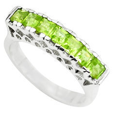 3.02cts natural green peridot 925 sterling silver ring jewelry size 7.5 p73153