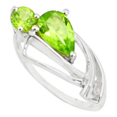 2.38cts natural green peridot 925 sterling silver ring jewelry size 6 p73174