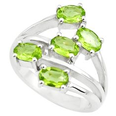 5.51cts natural green peridot 925 sterling silver ring jewelry size 7.5 p73220